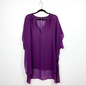 🌼2/$22🌼 Sheer Flowy Purple Short Sleeve Top